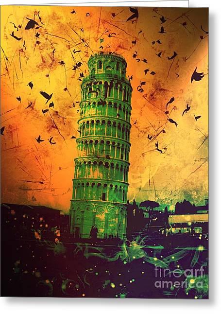 Creepy Digital Art Greeting Cards - Leaning Tower of Pisa 30 Greeting Card by Marina McLain