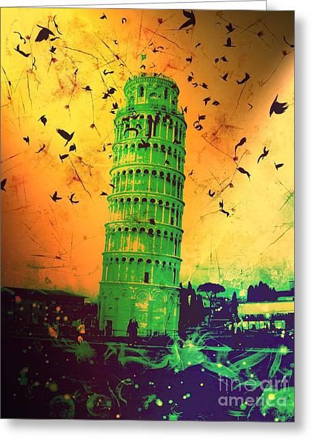 Creepy Digital Art Greeting Cards - Leaning Tower of Pisa 31 Greeting Card by Marina McLain