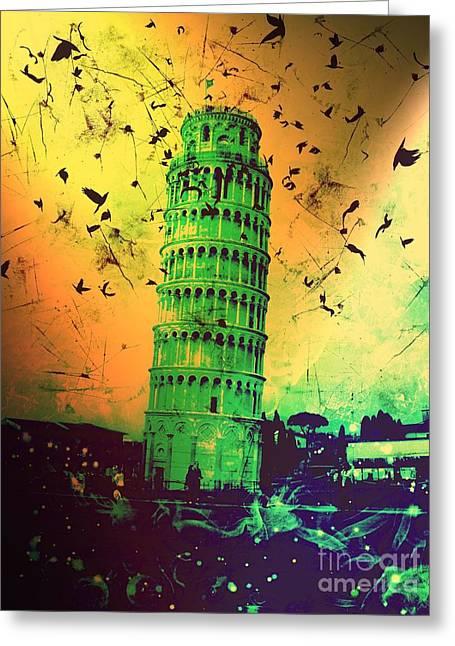 Creepy Digital Art Greeting Cards - Leaning Tower of Pisa 32 Greeting Card by Marina McLain