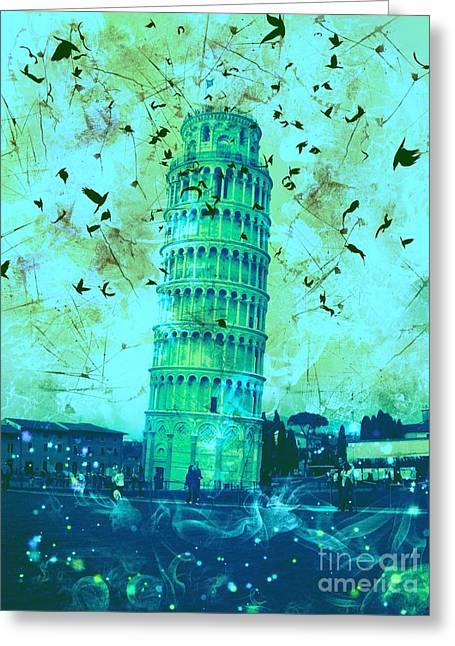 Creepy Digital Art Greeting Cards - Leaning Tower of Pisa 4 Greeting Card by Marina McLain