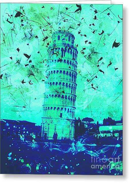 Creepy Digital Art Greeting Cards - Leaning Tower of Pisa 6 Greeting Card by Marina McLain