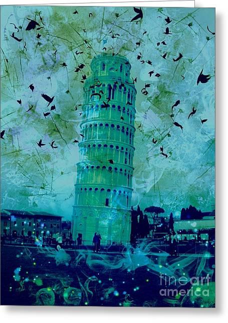 Creepy Digital Art Greeting Cards - Leaning Tower of Pisa 8 Greeting Card by Marina McLain