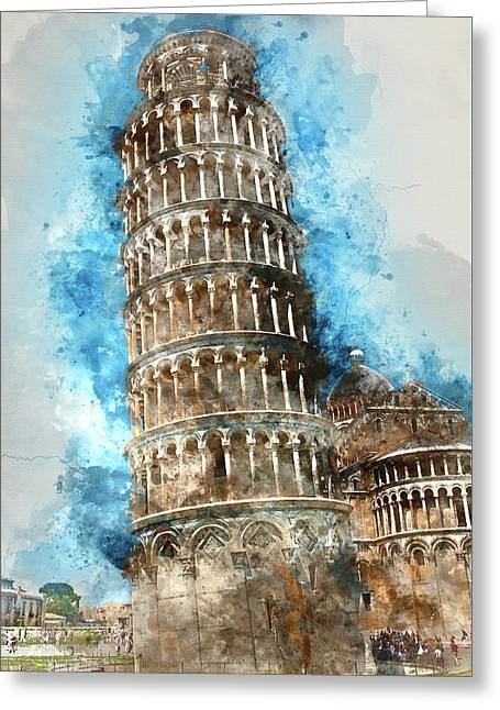 Leaning Tower Of Pisa In Italy Greeting Card by Brandon Bourdages