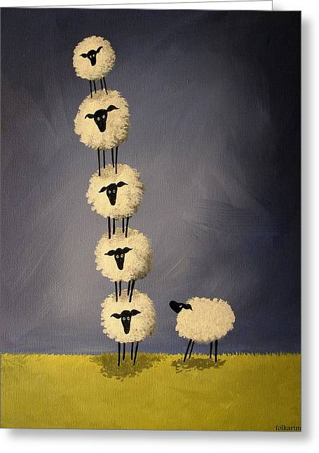 Leaning Tower Of Sheepisa - Folk Art Greeting Card by Debbie Criswell
