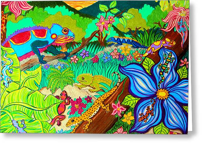 Leapin Lizards Greeting Card by Nick Gustafson