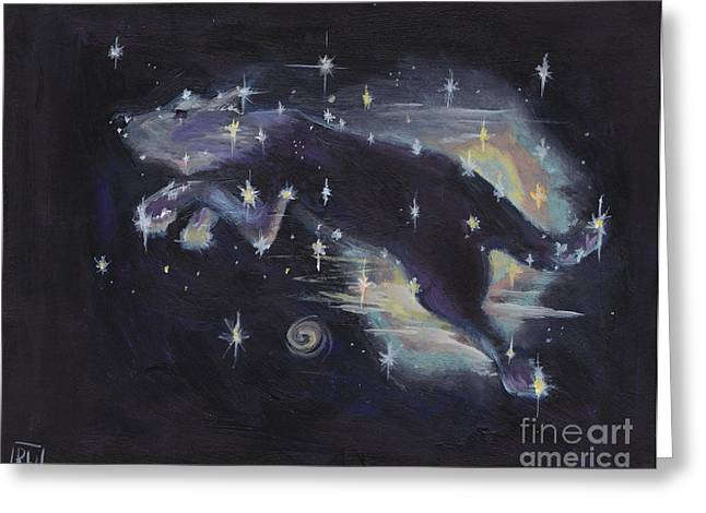 Constellations Paintings Greeting Cards - Leaping dog constellation Greeting Card by Robin Wiesneth