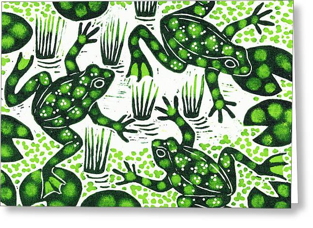 Woodcut Greeting Cards - Leaping Frogs Greeting Card by Nat Morley