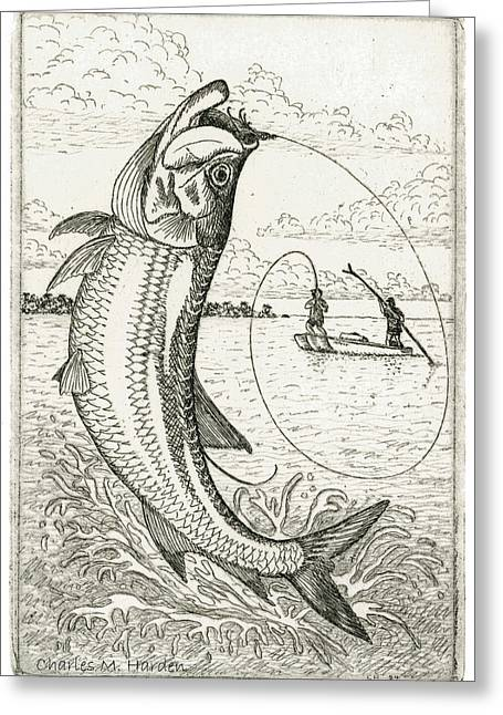 Grand Slam Greeting Cards - Leaping Tarpon Greeting Card by Charles Harden
