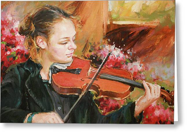 Renoir Greeting Cards - Learning The Violin Greeting Card by Conor McGuire
