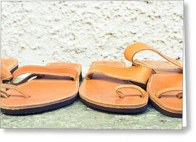 Straps Greeting Cards - Leather sandals Greeting Card by Tom Gowanlock