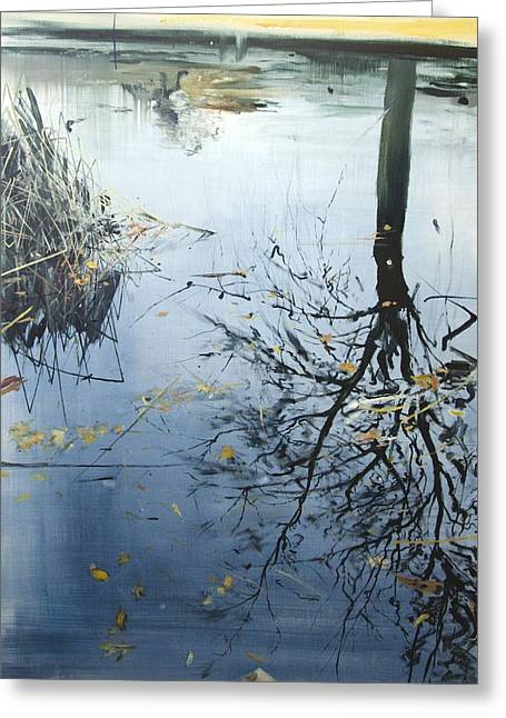 Pond Life Greeting Cards - Leaves and Reeds on Tree Reflection Greeting Card by Calum McClure