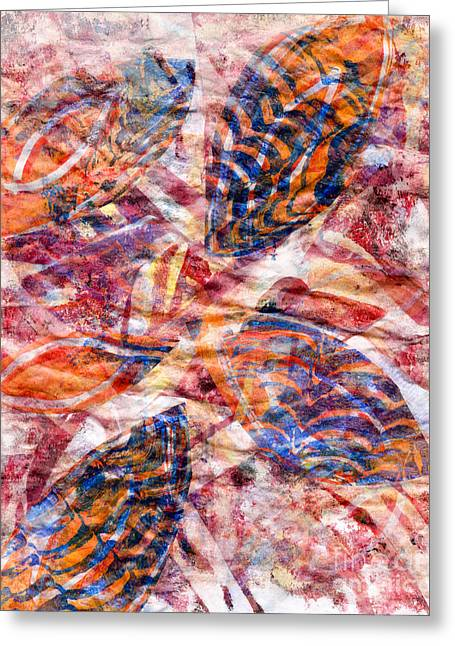 Printmaking Greeting Cards - Leaves in Orange and Blue Greeting Card by Laura L Leatherwood