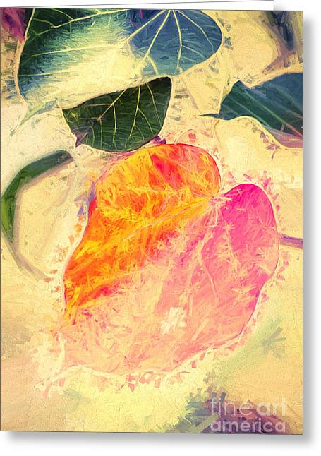 Gouache Abstract Greeting Cards - Leaves of impressionism Greeting Card by Ryan Jorgensen