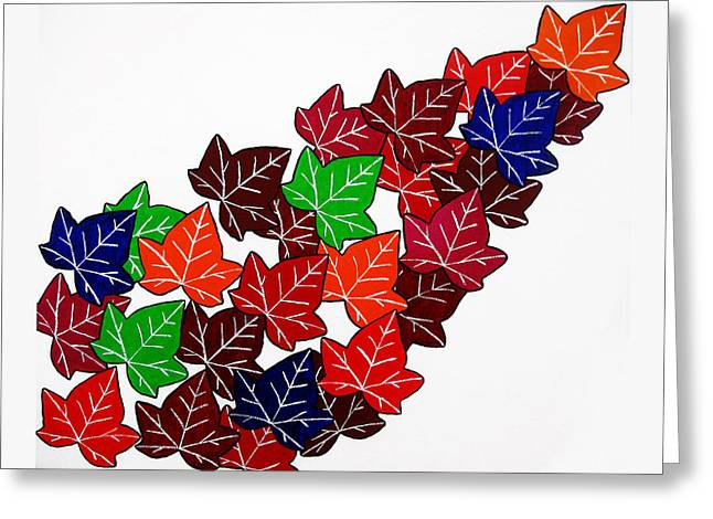 Splendid Paintings Greeting Cards - Leaves Greeting Card by Oliver Johnston
