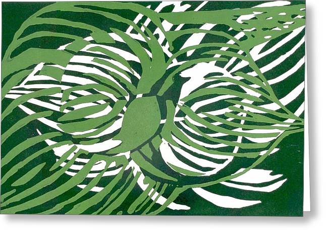 Green Leafs Reliefs Greeting Cards - Leaves on Linocut Greeting Card by Saundra Jones