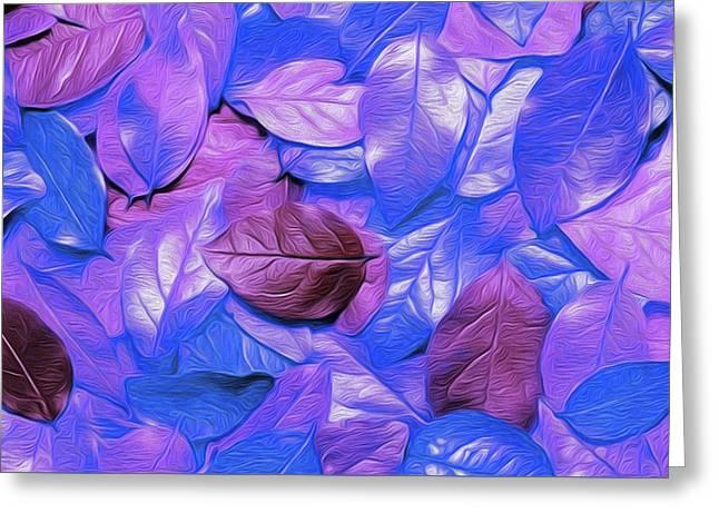 Leaves Purple By Nicholas Nixo Efthimiou Greeting Card by Nicholas Nixo