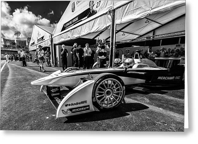 Andretti Greeting Cards - Leaving Garage Greeting Card by Kevin Cable