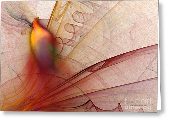 Leaving Marks Abstract Art Greeting Card by Karin Kuhlmann