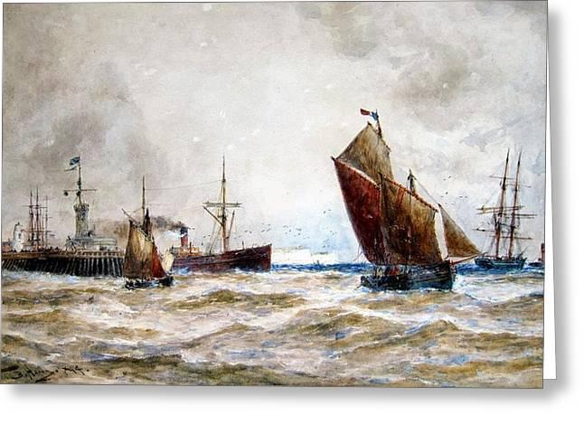Leaving Port Calais Greeting Card by Thomas Bush