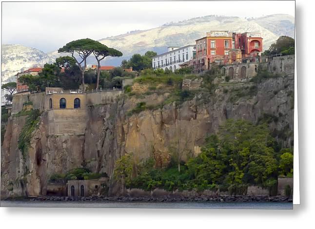 Italian Landscapes Digital Greeting Cards - Leaving Positano Greeting Card by Janet Fikar