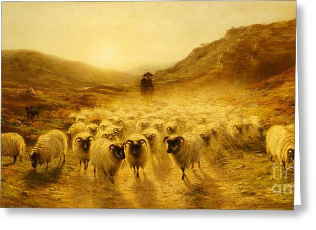 Leaving The Hills, 1874 Greeting Card by Joseph Farquharson