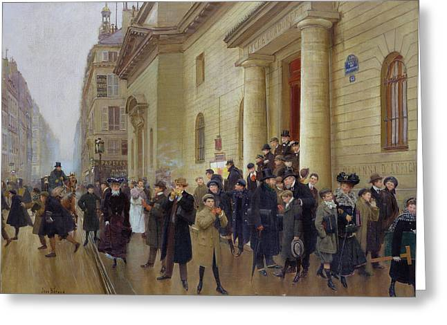Traffic Greeting Cards - Leaving the Lycee Condorcet Greeting Card by Jean Beraud