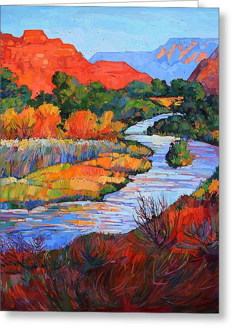 Brilliant Colors Greeting Cards - Leaving Zion II Greeting Card by Erin Hanson