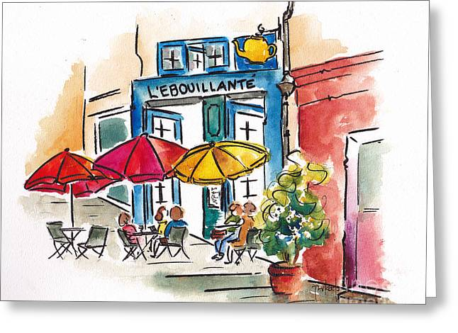 Rose Red City Greeting Cards - Lebouillante Paris Cafe Greeting Card by Pat Katz