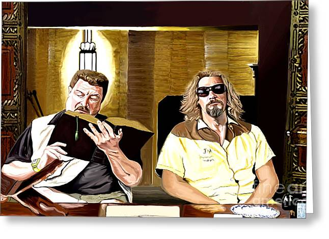 Lebowski  Mortuary Greeting Card by Johnee Fullerton