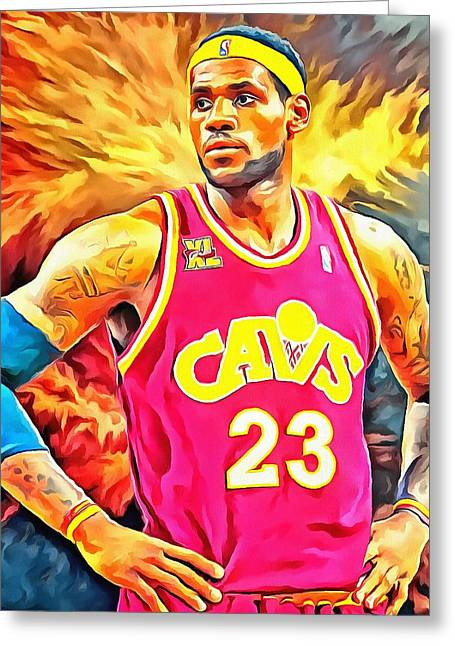 Lebron James Portrait Greeting Cards - Lebron James Basketball Art Portrait Painting Greeting Card by Andres Ramos
