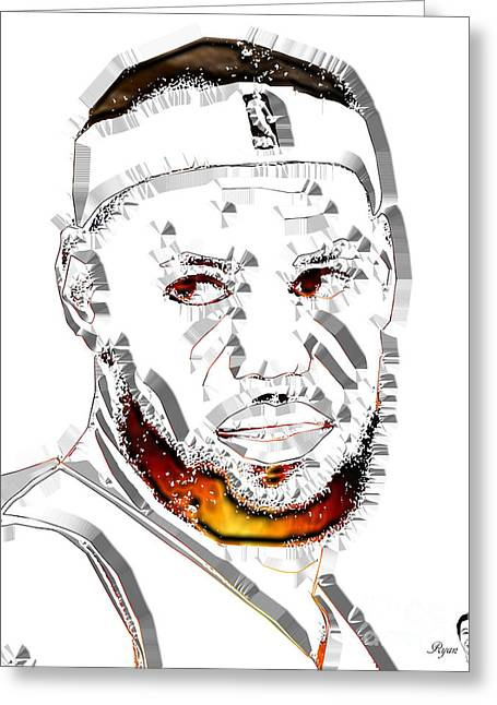 Lebron James Basketball Greeting Card by Dalon Ryan