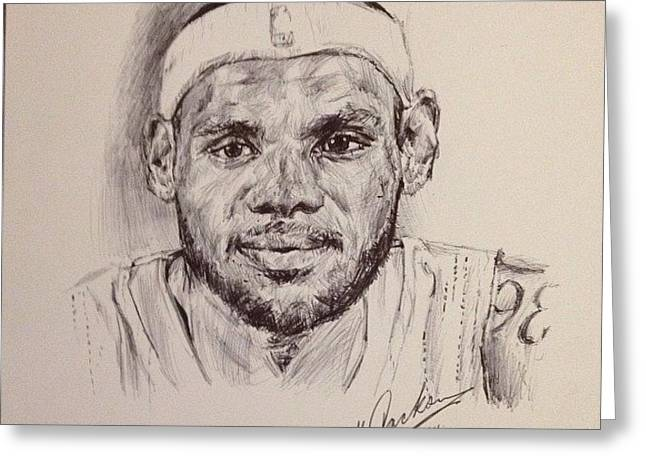 Lebron James Drawings Greeting Cards - Lebron James Greeting Card by Billy Jackson
