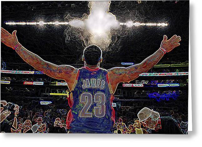 Lebron Digital Greeting Cards - Lebron James Chalk Toss Basketball Art Landscape Painting Greeting Card by Andres Ramos
