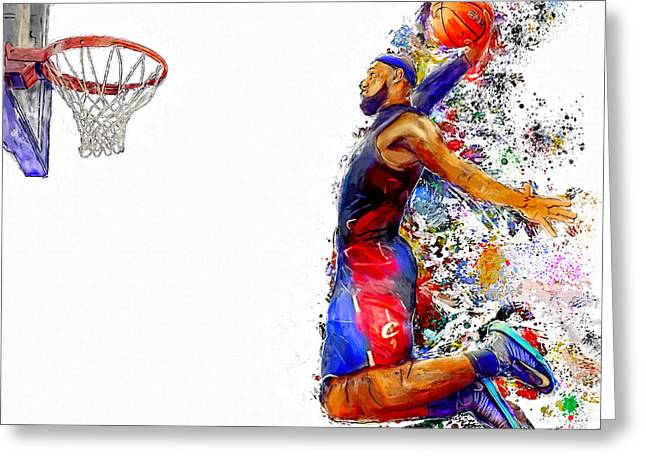 Basketballs Greeting Cards - Lebron James Dunk in Color Painting Greeting Card by Andres Ramos