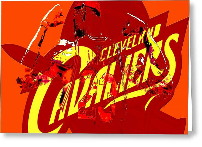 Nike Greeting Cards - Lebron James in Cleveland Greeting Card by Brian Reaves