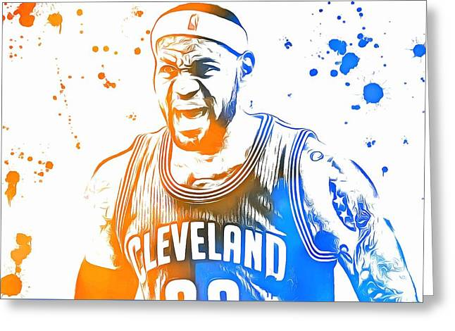 Miami Heat Digital Art Greeting Cards - LeBron James Paint Splatter Greeting Card by Dan Sproul