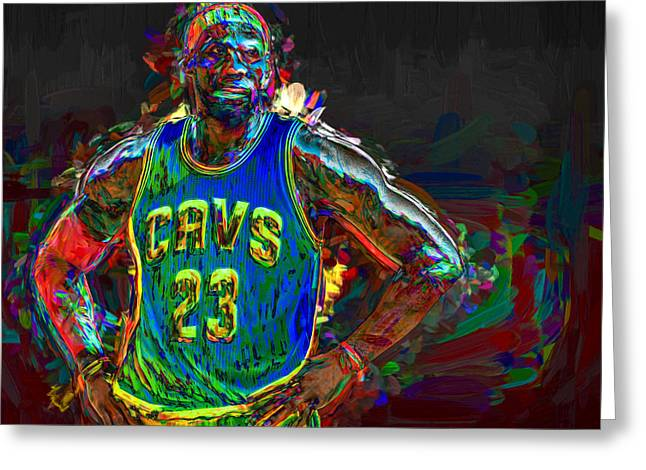 Lebron James Painted Greeting Card by David Haskett