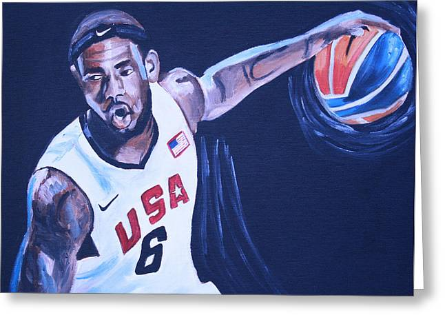 Basketball Paintings Greeting Cards - Lebron James Portrait Greeting Card by Mikayla Henderson