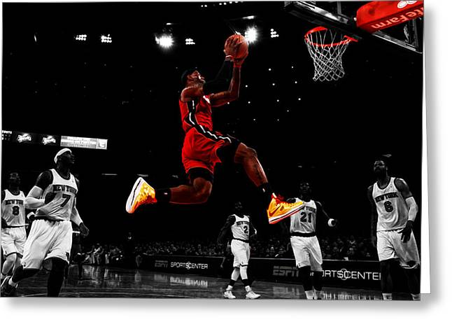 Lebron James Showtime  Greeting Card by Brian Reaves