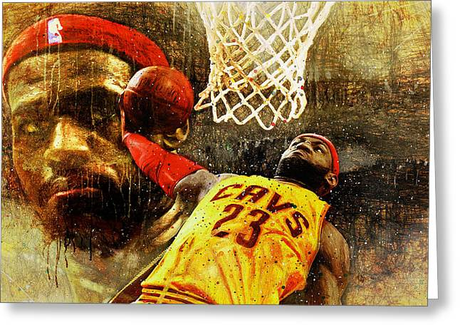 Basketballs Greeting Cards - LeBron Sets The Tone Greeting Card by John Farr