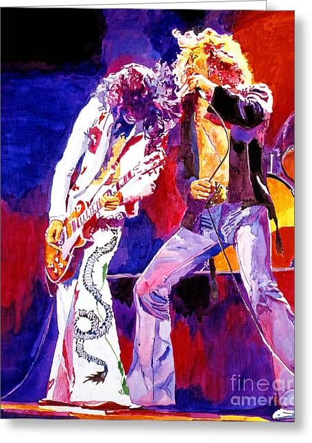 Musicians Paintings Greeting Cards - Led Zeppelin - Page and  Plant Greeting Card by David Lloyd Glover