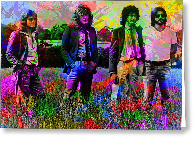 Led Zeppelin Band Portrait Paint Splatters Pop Art Greeting Card by Design Turnpike
