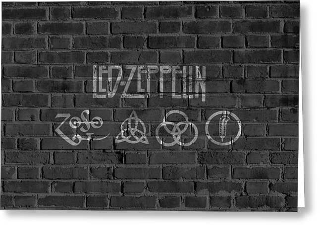 Led Zeppelin Brick Wall Greeting Card by Dan Sproul