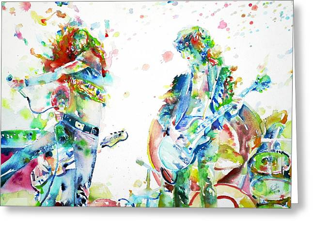 Led Zeppelin Live Concert - Watercolor Portrait.1 Greeting Card by Fabrizio Cassetta