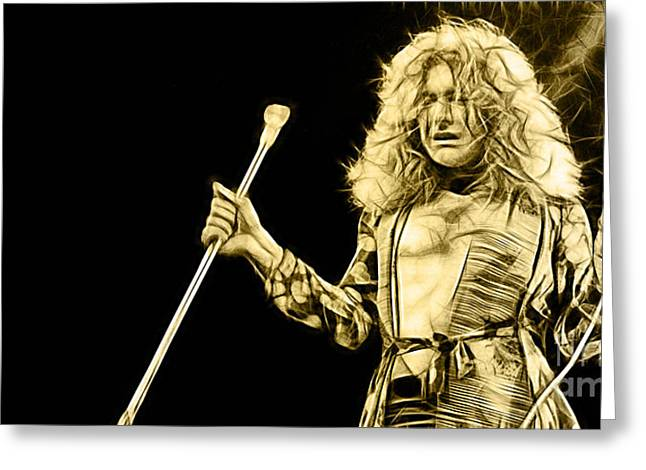 Led Zeppelin Robert Plant Greeting Card by Marvin Blaine