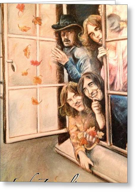 Led Zeppelin Greeting Cards Greeting Cards - Led Zeppelin with Leaves Greeting Card by Mary Fanning