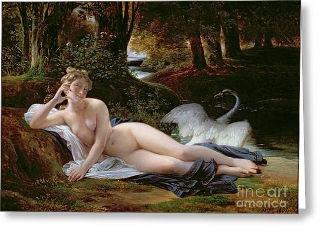 Same Greeting Cards - Leda and the Swan Greeting Card by Francois Edouard Picot