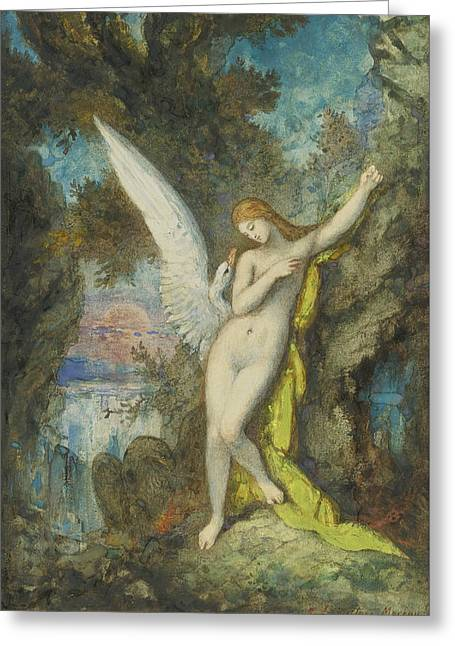 Leda Greeting Cards - Leda and the Swan Greeting Card by Gustave Moreau