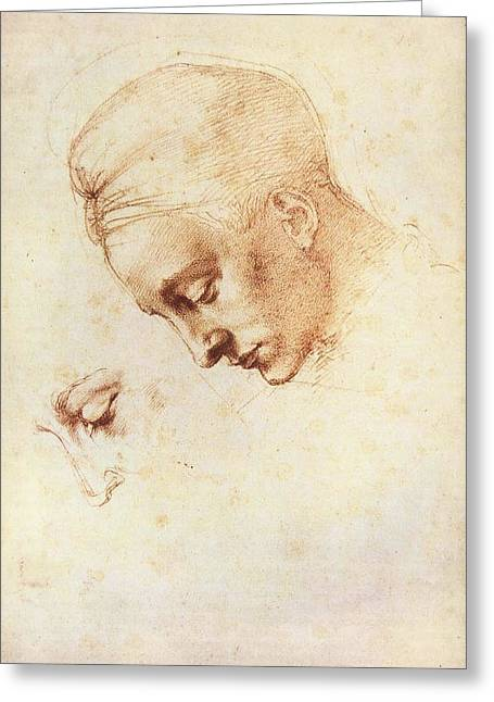 Leda's Head, Study Greeting Card by Michelangelo Buonarroti