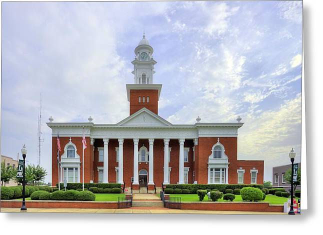 Town Square Greeting Cards - Lee County Courthouse Greeting Card by JC Findley